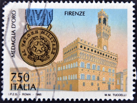 ITALY - CIRCA 1995: A stamp printed in Italy dedicated to Florence, circa 1995 Stock Photo