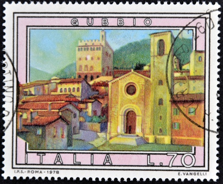 postage: ITALY - CIRCA 1978: A stamp printed in Italy shows Gubbio, circa 1978