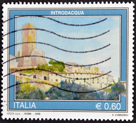 ITALY - CIRCA 2008: A stamp printed in Italy shows Introdacqua, circa 2008 Stock Photo - 11813648
