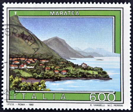 maratea: ITALY - CIRCA 1992: A stamp printed in Italy shows Maratea, circa 1992