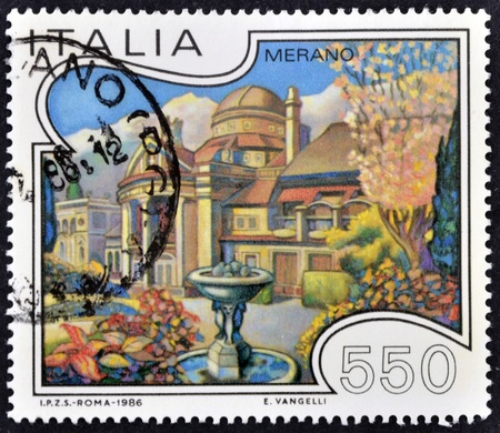 ITALY - CIRCA 1986: A stamp printed in Italy shows Merano, circa 1986 Stock Photo - 11813775