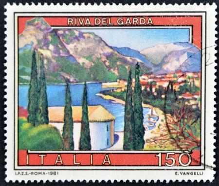 ITALY - CIRCA 1981: A stamp printed in Italy shows Riva del Garda, circa 1981 Stock Photo - 11813778