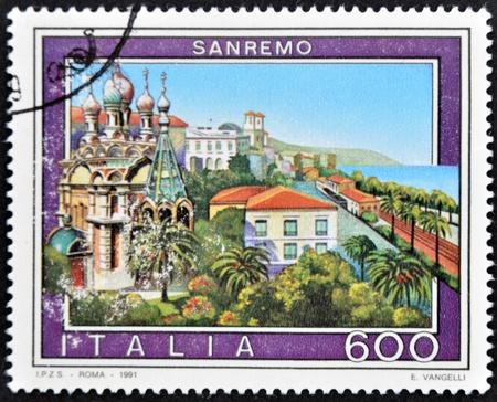 ITALY - CIRCA 1991: A stamp printed in Italy shows San Remo, circa 1991 Stock Photo - 11813645