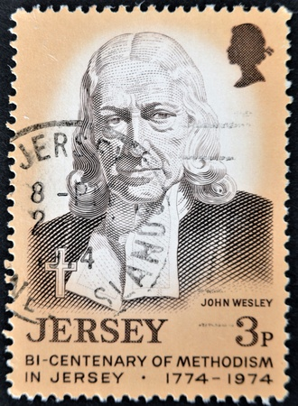 wesley: JERSEY - CIRCA 1974: A stamp printed in Jersey dedicated to bi-centenary of methodism in Jersey, shows John Wesley, circa 1974 Editorial