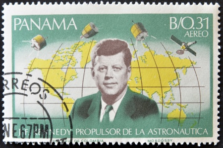 PANAMA - CIRCA 1966: A stamp printed in Panama shows image of John Fitzgerald Kennedy, propellant of astronautics, circa 1966.