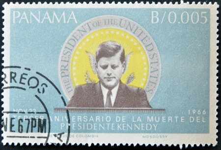 john fitzgerald kennedy: PANAMA - CIRCA 1966: A stamp printed in Panama shows image of John Fitzgerald Kennedy, was the 35th President of the USA, circa 1966. Editorial