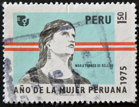 patriotic martyr: PERU - CIRCA 1975: A stamp printed in Peru dedicated to years of Peruvian women shows Maria Parado de Bellido, circa 1975