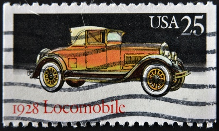UNITED STATES - CIRCA 1988: stamp printed in USA shows Locomobile, circa 1988 Stock Photo - 11815681