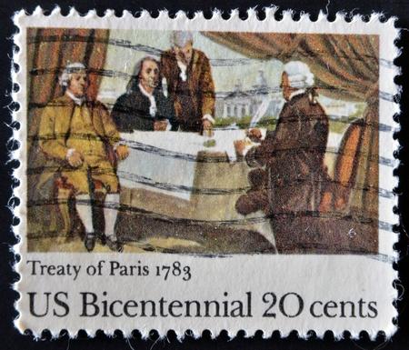 verdrag: VS - CIRCA 1983: Een stempel gedrukt in de Verenigde Staten toont Verdrag van Parijs, 1783, circa 1983 Stockfoto
