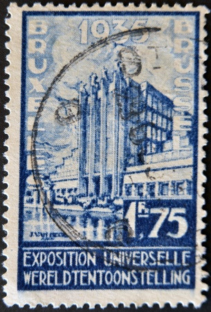BELGIUM - CIRCA 1935: A stamp printed in Belgium dedicated to the Universal Exhibition in Brussels, circa 1935 photo
