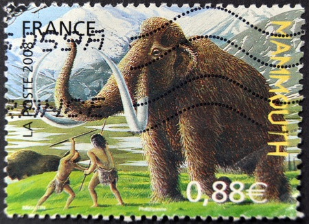 FRANCE - CIRCA 2008: A stamp printed in France shows a mammoth, circa 2008 photo