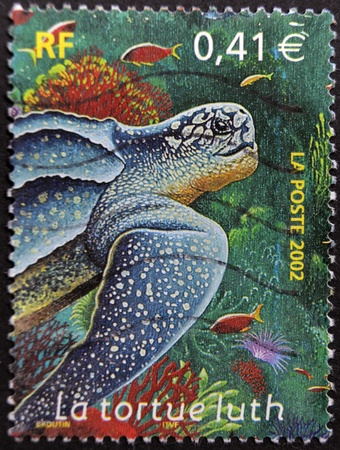 FRANCE - CIRCA 2002: A stamp printed in France shows the leatherback turtle, circa 2002 photo