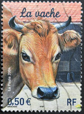 FRANCE - CIRCA 2004: A stamp printed in France shows a cow, circa 2004 photo