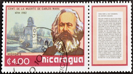 marx: NICARAGUA - CIRCA 1982: A stamp printed in Nicaragua shows Marx, circa 1982 Stock Photo