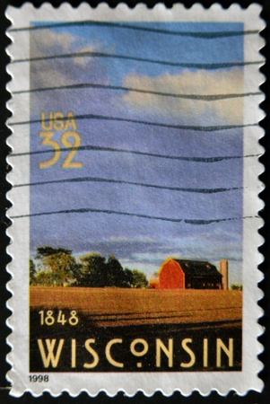 UNITED STATES OF AMERICA - CIRCA 1998: A stamp printed in USA shows Wisconsin, circa 1998 photo