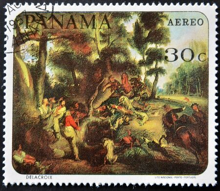 PANAMA - CIRCA 1967: A stamp printed in Panama shows a work by Delacroix, circa 1967 photo