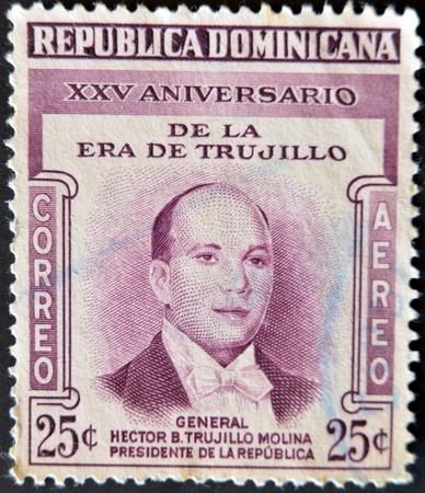 DOMINICAN REPUBLIC - CIRCA 1955: A stamp printed in Dominican Republic shows President Trujillo, circa 1955  photo