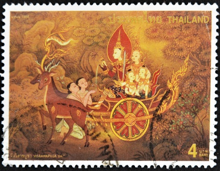 THAILAND - CIRCA 1998: A stamp printed in Thailand dedicated to visakhapuja day, circa 1998 photo