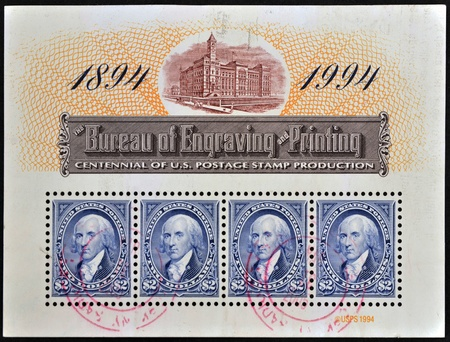 UNITED STATES OF AMERICA - CIRCA 1994: A stamp printed in USA dedicated to centennial of U.S. postage stamp production shows George Washington, circa 1994