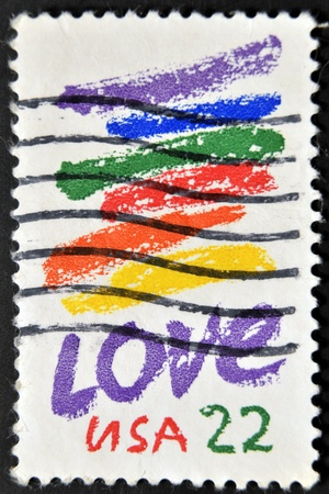 UNITED STATES OF AMERICA - CIRCA 1980: A stamp printed in USA shows image of the dedicated to the Love circa 1980.  Stock Photo - 11949264