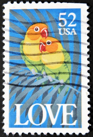UNITED STATES OF AMERICA - CIRCA 1993: A stamp printed in the USA showing parrots, circa 1993  Stock Photo - 11949297