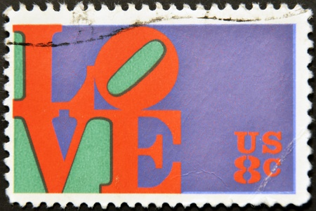 UNITED STATES OF AMERICA - CIRCA 1973: A stamp printed in USA shows the Love by Robert Indiana, circa 1973 Stock Photo - 11949237