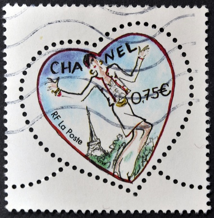 chanel: FRANCE - CIRCA 2003: A stamp printed in France shows a heart by Chanel, circa 2003