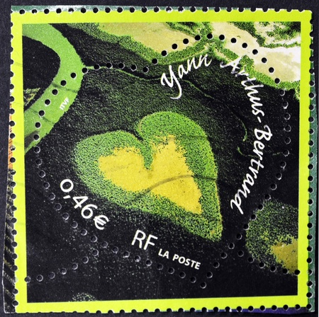 FRANCE - CIRCA 2003: A stamp printed in France shows Mangrove Valentine heart-shaped, mangrove in New Caledonia, circa 2003 photo