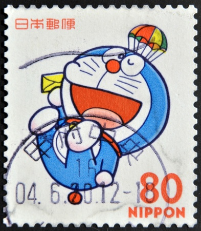 JAPAN - CIRCA 2000: A stamp printed in japan shows Doraemon , circa 2000  Stock Photo - 11949374