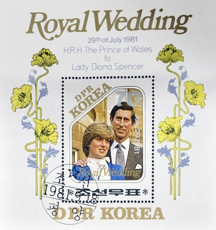 lady diana: NORTH KOREA - CIRCA 1981: A stamp printed in DPR Korea dedicated to royal wedding of the prince of wales to Lady Diana Spencer, circa 1981
