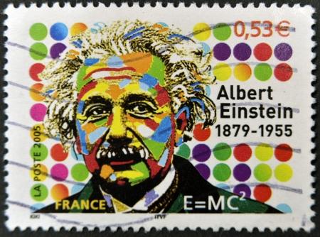 philatelist: FRANKREICH - CIRCA 2005: Ein Stempel in Frankreich gedruckt zeigt Albert Einstein, circa 2005 Editorial