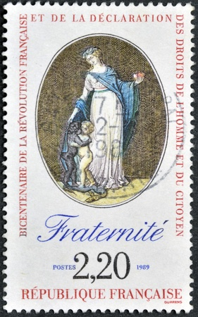 bill of rights: FRANCE - CIRCA 1989: A stamp printed in France in commemoration of the bicentennial of the French Revolution and the Bill of Rights of Man and Citizen, circa 1989