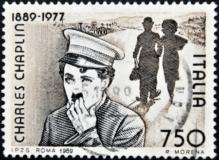 english famous: ITALY - CIRCA 1989: Stamp printed by Italy celebrating 100 years from the birth of Charles Chaplin, circa 1989.