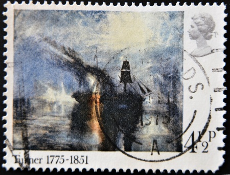 turner: UNITED KINGDOM - CIRCA 1975: A stamp printed in Great Britain shows a picture by Turner, circa 1975