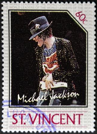 jackson: ST. VINCENT - CIRCA 1985: A stamp printed in St. Vincent shows Michael Jackson, circa 1985