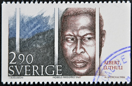 apartheid: SWEDEN - CIRCA 1986: A stamp printed in Sweden dedicated to Nobel Peace, shows Albert Lutheli, circa 1986