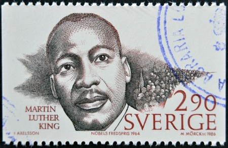 civil rights: SWEDEN - CIRCA 1986: A stamp printed in Sweden dedicated to Nobel Peace, shows Martin Luther King, circa 1986