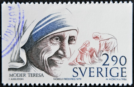 Mother Teresa: SWEDEN - CIRCA 1986: A stamp printed in Sweden dedicated to Nobel Peace, shows mother Teresa, circa 1986