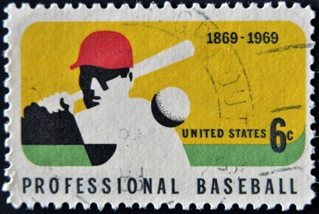 perforated stamp: UNITED STATES OF AMERICA - CIRCA 1969 : A stamp printed in USA dedicated to Professional Baseball,  circa 1969
