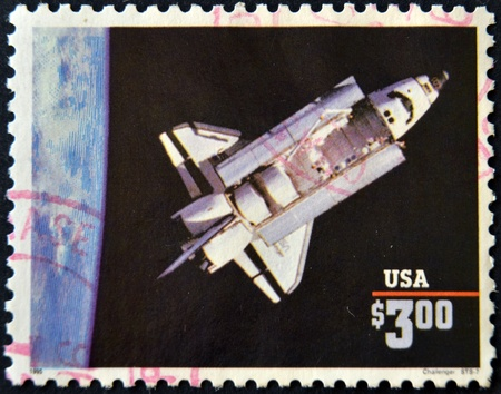 challenger: UNITED STATES OF AMERICA - CIRCA 1995: A stamp printed in USA shows space shuttle challenger, circa 1995 Stock Photo
