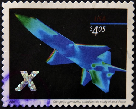 UNITED STATES OF AMERICA - CIRCA 2006: A stamp printed in USA shows computer-generated aerodynamic study of an X-plane, circa 2006