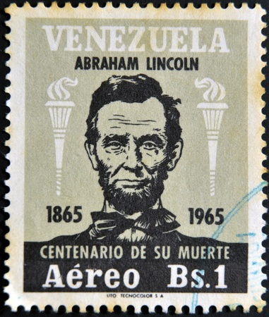 VENEZUELA - CIRCA 1965: A stamp printed in Venezuela shows Abraham Lincoln, circa 1965