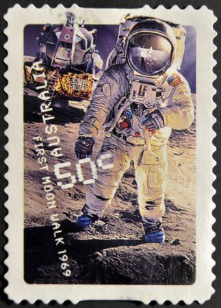 AUSTRALIA - CIRCA 2007: A stamp printed in Australia shows first moon walk 1969, circa 2007 photo