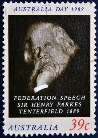 AUSTRALIA - CIRCA 1989: A stamp printed in Australia shows sir Henry Parkes Tenterfield, circa 1989