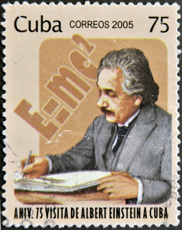 CUBA - CIRCA 2005: A stamp printed in Cuba dedicated to anniversary of Albert Einsteins visit to Cuba, circa 2005