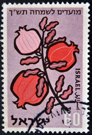 mentioned: ISRAEL - CIRCA 1959: A stamp printed in Israel represents a shell of the seven species mentioned in the Bible, circa 1959