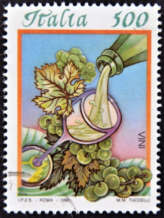 ITALY - CIRCA 1996: A stamp printed in Italy dedicated to wine, circa 1996 photo