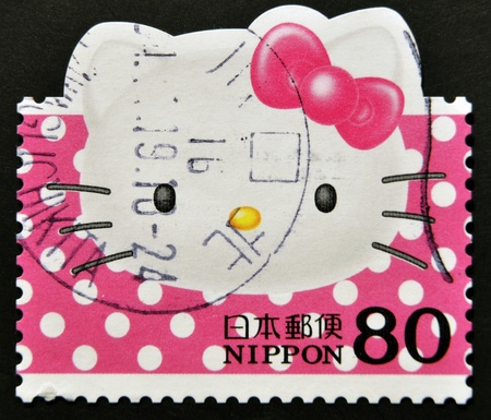 JAPAN - CIRCA 2000: A stamp printed in Japan shows the cartoon character, Hello Kitty, circa 2000