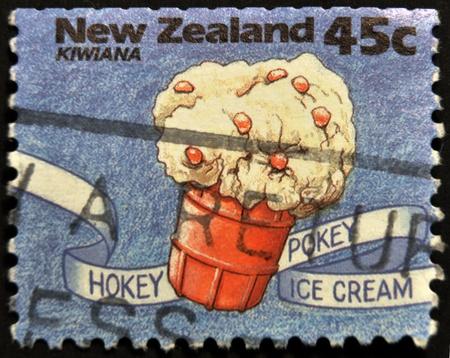 pokey: NEW ZEALAND - CIRCA 1994: A stamp printed in New Zealand shows hokey pokey ice cream, Kiwiana series, circa 1994