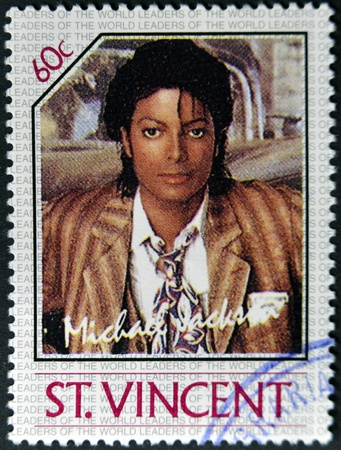 ST. VINCENT - CIRCA 1985: A stamp printed in St. Vincent shows Michael Jackson, circa 1985